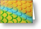 Abstract Bright Color Greeting Cards - Colorful Scales Greeting Card by Adam Romanowicz