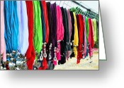 Flea Greeting Cards - Colorful Scarfs Greeting Card by Paul Ward