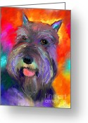 Vibrant Mixed Media Greeting Cards - Colorful Schnauzer dog portrait print Greeting Card by Svetlana Novikova