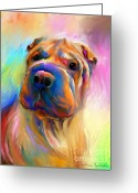 Custom Pet Portrait Greeting Cards - Colorful Shar Pei Dog portrait painting  Greeting Card by Svetlana Novikova