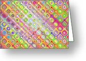 Disco Mixed Media Greeting Cards - Colorful Sketch Blocks Pattern Greeting Card by Wino Evertz