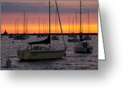 Lake Michgan Greeting Cards - Colorful Skies At This Harbor Greeting Card by Sven Brogren