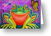 Lily Pad Greeting Cards - Colorful Smiling frog-VooDoo Frog Greeting Card by Nick Gustafson