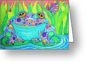 Colorful Drawings Greeting Cards - Colorful Spotted Frog Greeting Card by Nick Gustafson