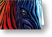 Stripes Greeting Cards - Colorful Stripes Original Zebra Painting by MADART in Black Greeting Card by Megan Duncanson