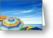 Umbrella Photo Greeting Cards - Colorful Sunshades Greeting Card by Carlos Caetano