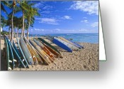 Waikiki Beach Greeting Cards - Colorful Surfboards on Waikiki Beach Greeting Card by George Oze