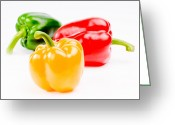 Chili Greeting Cards - Colorful Sweet Peppers Greeting Card by Setsiri Silapasuwanchai