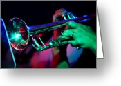 Live Music Greeting Cards - Colorful Trumpet Greeting Card by The  Vault