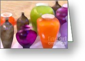 Still Life Greeting Cards - Colorful Vases I - Still Life Greeting Card by Ben and Raisa Gertsberg
