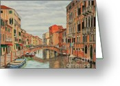 Canals Painting Greeting Cards - Colorful Venice Greeting Card by Charlotte Blanchard