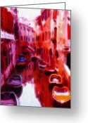 House Pastels Greeting Cards - Colorful Venice Oil Pastels Greeting Card by Stefan Kuhn