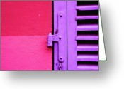 Hinge Greeting Cards - Colorful Wall And Wood Shutter In Monaco Greeting Card by Alexandre Fundone