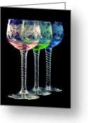 Handmade Greeting Cards - Colorful wine glasses Greeting Card by Gert Lavsen