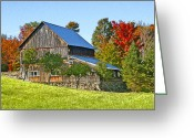 Red Fall Colors Greeting Cards - Colors In Vermont Greeting Card by James Steele