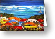 Boat Greeting Cards - Colors of St Martin Greeting Card by Patti Schermerhorn