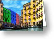 Gondola Digital Art Greeting Cards - Colors of Venice Greeting Card by Jeff Kolker