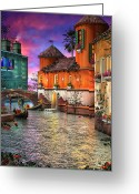 Romantic Mixed Media Greeting Cards - Colors of Venice Greeting Card by Joel Payne