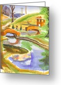 Foot Bridge Greeting Cards - Colors on a Cloudy Day II Greeting Card by Kip DeVore