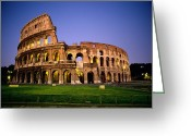 Of Buildings Greeting Cards - Colosseum At Night, Rome, Italy Greeting Card by Richard Nowitz