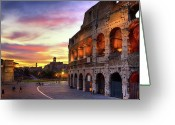 Old Cities Greeting Cards - Colosseum At Sunset Greeting Card by Christopher Chan