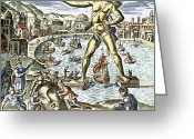 Rhodes Greece Greeting Cards - Colossus Of Rhodes Statue Greeting Card by Sheila Terry