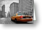 Manhattan Photo Greeting Cards - Colour Popped NYC Cab in front of the Flat Iron Building  Greeting Card by John Farnan