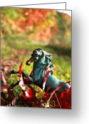 Horse Posters Greeting Cards - Colourful Autum Greeting Card by El Luwanaya Arabians