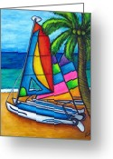 Sailing Cat Greeting Cards - Colourful Hobby Greeting Card by Lisa  Lorenz