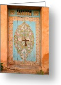 Entrance Door Greeting Cards - Colourful Moroccan Entrance Door Sale Rabat Morocco Greeting Card by Ralph Ledergerber