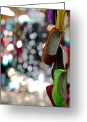Moroccan Market Greeting Cards - Colourful Shoes Morocco Greeting Card by Geraint Rowland