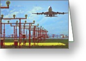Jet Greeting Cards - Colourful Take-Off Greeting Card by Patrick English