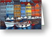 Vibrant Greeting Cards - Colours of Nyhavn Greeting Card by Lisa  Lorenz