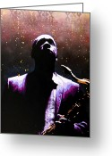 Stencil Art Greeting Cards - Coltrane II - Coltrane Harder Greeting Card by Bobby Zeik