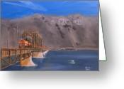 Trains Painting Greeting Cards - Columbia Crossing Greeting Card by Christopher Jenkins