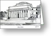 College Buildings Images Greeting Cards - Columbia Greeting Card by Frederic Kohli