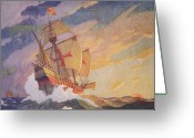 Galleon Greeting Cards - Columbus Crossing the Atlantic Greeting Card by Newell Convers Wyeth