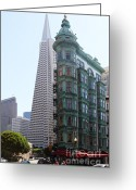 Little Italy Greeting Cards - Columbus Tower and the Transamerica Pyramid San Francisco Greeting Card by Wingsdomain Art and Photography