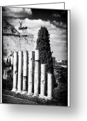 Ancient Prints Greeting Cards - Columns Greeting Card by John Rizzuto
