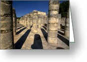 Pre Columbian Antiquities And Artifacts Greeting Cards - Columns with shadows at Greeting Card by Raul Touzon