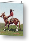 Native Portraits Greeting Cards - Comanche Brave Greeting Card by Frederic Remington