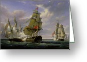 1860 Greeting Cards - Combat between the French Frigate La Canonniere and the English Vessel The Tremendous Greeting Card by Pierre Julien Gilbert