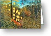 Storm Prints Painting Greeting Cards - Combat du Tigre by Henri Rousseau Greeting Card by Pg Reproductions