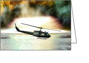 Fighting Greeting Cards - Combat Helicopter Greeting Card by Olivier Le Queinec