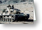 M60 Tank Greeting Cards - Combat Ready Marines Approach An Enemy Greeting Card by Stocktrek Images