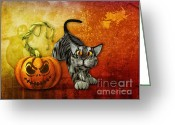 Frighten Greeting Cards - Come and Scare Greeting Card by Jutta Maria Pusl