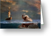 Surrealist Digital Art Greeting Cards - Come on my friend Greeting Card by Martine Roch
