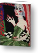 Black And White Tapestries - Textiles Greeting Cards - Come This Way Greeting Card by Daphne Sampson