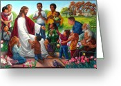 Jesus Painting Greeting Cards - Come Unto Me Greeting Card by John Lautermilch
