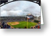 Baseball Game Digital Art Greeting Cards - Comerica Park Home of the Detroit Tigers Greeting Card by Michelle Calkins